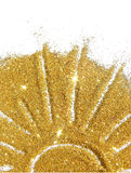 De zon van gouden schittert fonkeling op witte achtergrond Royalty-vrije Stock Afbeelding