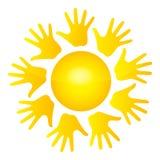 De zon van handen stock illustratie