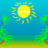 de zon van het de zomerlandschap en duidelijke hemel met een overzees Royalty-vrije Stock Fotografie