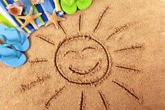 De zon van het de zomerstrand Stock Afbeeldingen
