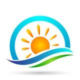 De zon van het overzeese van de bolwereld van het de golfpictogram golfwater van het de Kustpictogram van de het toerismevakantie vector illustratie