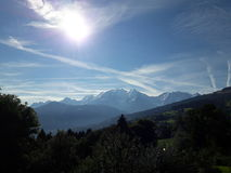 De zon van Mont blanc Frankrijk royalty-vrije stock afbeelding