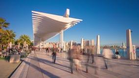 De zon van Spanje Malaga de lichte het lopen tijdspanne van de baai4k tijd stock videobeelden