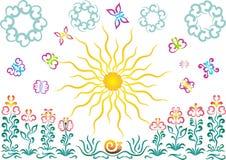 De zon, vlinders, bloemen Stock Illustratie