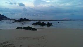 De zon was in het strand stock foto's