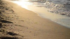 De zon wordt in golven weerspiegeld die op een zandig strand rollen stock video