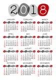 De Zondag van het de weekbegin van het kalender 2018 malplaatje, gestileerde kiezelsteen Stock Afbeeldingen