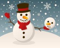 De zonderlinge Sneeuwman van het Kerstmisgehucht Stock Afbeelding