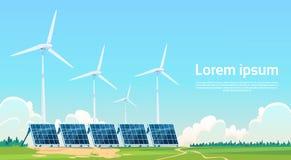 De Zonne-energiecomité van de windturbine Vernieuwbare Post vector illustratie