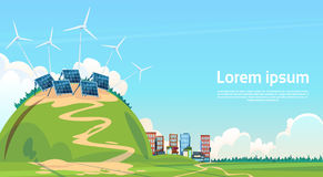 De Zonne-energiecomité van de windturbine Vernieuwbare Post stock illustratie