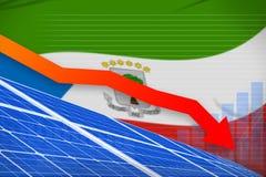 De zonne-energiemacht die van Equatoriaal-Guinea grafiek, pijl verlagen - milieu natuurlijke energie industriële illustratie 3d stock illustratie