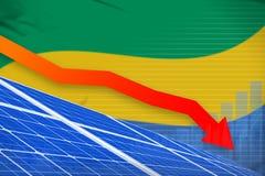 De zonne-energiemacht die van Gabon grafiek, pijl verlagen - vernieuwbare natuurlijke energie industriële illustratie 3D Illustra vector illustratie