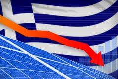 De zonne-energiemacht die van Griekenland grafiek, pijl verlagen - groene natuurlijke energie industriële illustratie 3D Illustra stock illustratie
