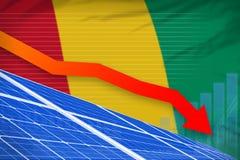 De zonne-energiemacht die van Guinea grafiek, pijl verlagen - alternatieve natuurlijke energie industriële illustratie 3D Illustr royalty-vrije illustratie