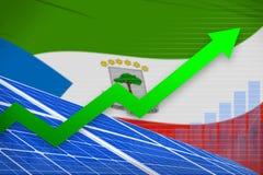 De zonne-energiemacht van Equatoriaal-Guinea het toenemen grafiek, pijl omhoog - vernieuwbare natuurlijke energie industriële ill stock illustratie