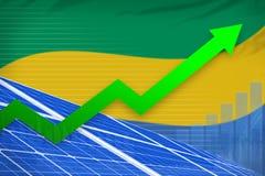 De zonne-energiemacht van Gabon het toenemen grafiek, pijl omhoog - moderne natuurlijke energie industriële illustratie 3D Illust royalty-vrije illustratie