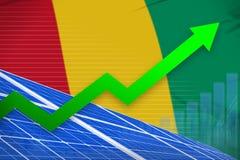 De zonne-energiemacht van Guinea het toenemen grafiek, pijl omhoog - moderne natuurlijke energie industriële illustratie 3D Illus royalty-vrije illustratie