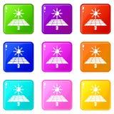 De zonne-energiepictogrammen plaatsen 9 kleureninzameling vector illustratie