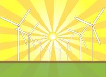 De zonne Molens van de Wind Stock Foto's