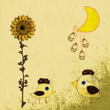 De zonnebloem en de maan van Grunge Stock Foto