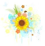 De zonnebloem van de zomer Stock Illustratie