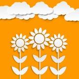 De zonnebloemen van het document Royalty-vrije Stock Afbeeldingen