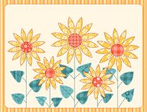 De zonnebloemenkaart van het lapwerk. Royalty-vrije Stock Afbeelding