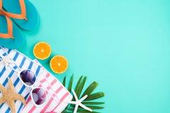 De zonnebril van strandtoebehoren, wipschakelaarzeester, een half stuk van sinaasappel en overzeese shell op Groenboekachtergrond royalty-vrije stock fotografie