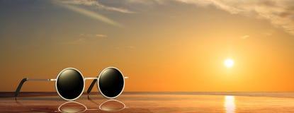 De zonnebril verzilvert om kader met zwarte lens, op een zonsondergang - zonsopgang door de overzeese achtergrond, banner, 3d ill Royalty-vrije Stock Foto's