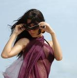 De zonnebrilmeisje van de manier Stock Foto's