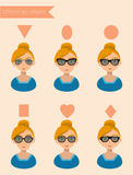 De Zonnebrilvormen F van vrouwen Stock Foto