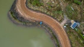 De Zonnecel van de Aeriealmening het Plattelandshuisjeplatteland van het de Bouwdak Stock Foto