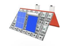 De zonnedie het Waterverwarmer en Zonnepaneel op een Dollar wordt geïnstalleerd factureren R Royalty-vrije Stock Fotografie