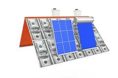 De zonnedie het Waterverwarmer en Zonnepaneel op een Dollar wordt geïnstalleerd factureren R Royalty-vrije Stock Afbeelding