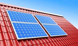 De zonnepanelen van het dak Royalty-vrije Stock Fotografie