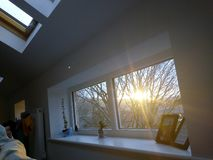 De zonneschijn van de de winterochtend royalty-vrije stock fotografie