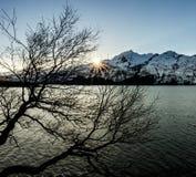 De Zonnestraal van de de winterzonsondergang stock fotografie