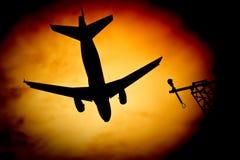 De zonnestraal van vliegtuigen royalty-vrije stock foto
