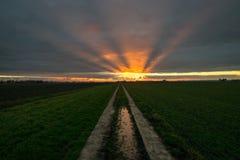 De zonnestralen glanzen bij de bodem van de wolken na zonsondergang Een weg leidt tot de horizon royalty-vrije stock foto