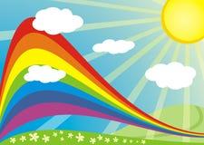 De zonnige aard van de regenboog Stock Afbeelding