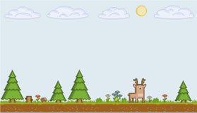 De zonnige dag van de pixelkunst Stock Fotografie
