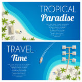 De zonnige horizontale banners van het de zomerstrand met palmen en bungalowwen Vector illustratie, EPS10 Royalty-vrije Stock Afbeeldingen