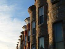 De zonnige Huizen van de Rij Royalty-vrije Stock Foto's