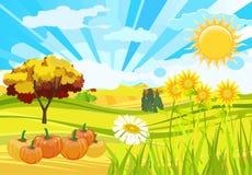 De zonnige natuurlijke grappige achtergrond van het de herfstseizoen stock illustratie