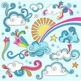 De zonnige VectorIllustratie van de Krabbels van het Notitieboekje van de Dag Royalty-vrije Stock Afbeeldingen