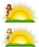 De zonnige Vrouwen van de Ochtend Stock Foto's
