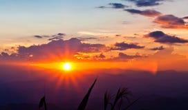 De zonsondergang Stock Foto's