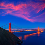 De zonsondergang Californië van golden gate bridge San Francisco Stock Foto