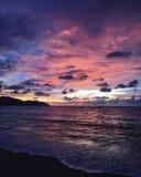 De zonsondergang, de kust van Maleisië Stock Foto