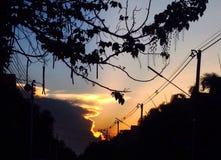 De zonsondergang en de schaduw Stock Foto